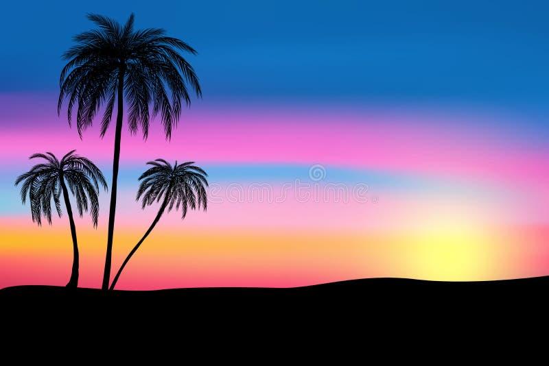 Zmierzch i tropikalni drzewka palmowe z kolorowym krajobrazowym tłem, wektor royalty ilustracja