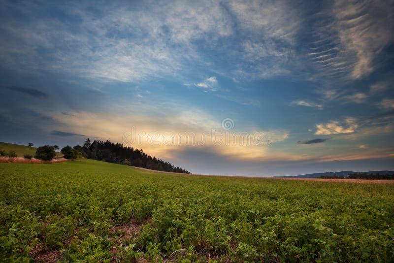 Zmierzch - Morawski krajobraz zdjęcia stock