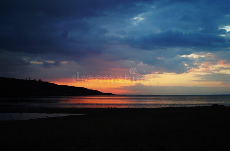 Zmierzch, morze, wieczór, piękno, horyzont, woda, lato obraz stock