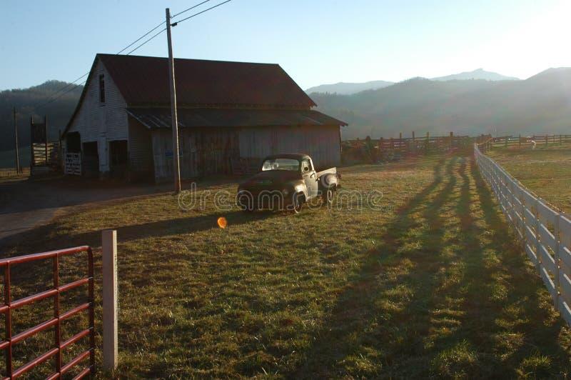 Zmierzch Na Gospodarstwie Rolnym Fotografia Stock