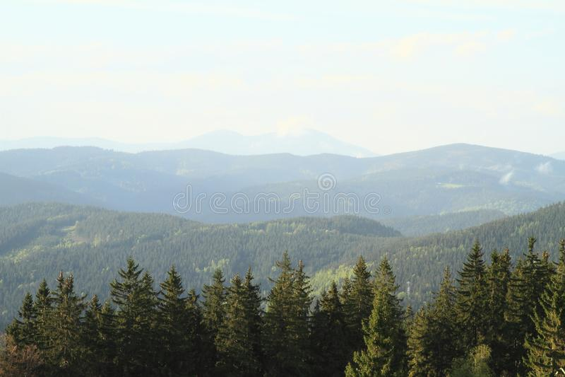 Zmierzch na Javorniky górach fotografia stock
