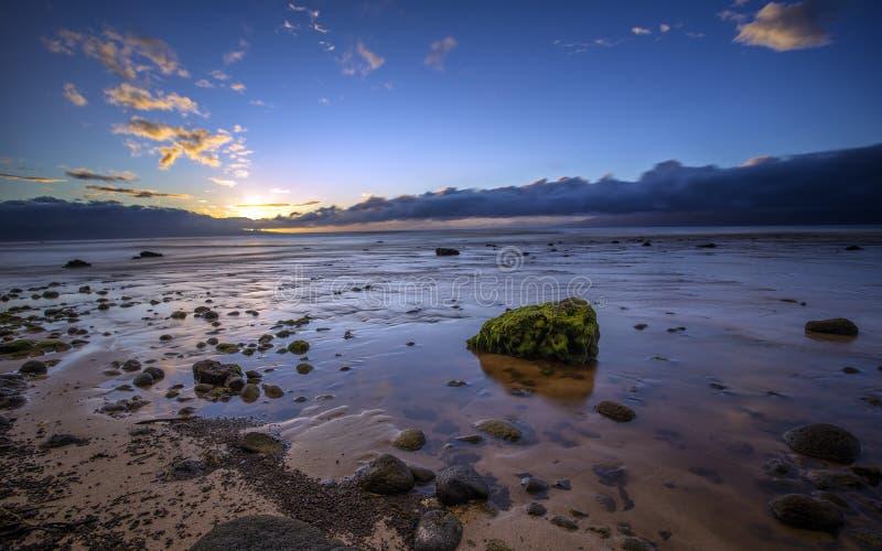 Zmierzch na Kaanapali plaży, Hawaje zdjęcie royalty free