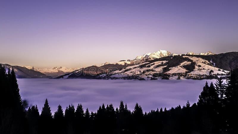 Zmierzch na Mont Blanc zdjęcia royalty free