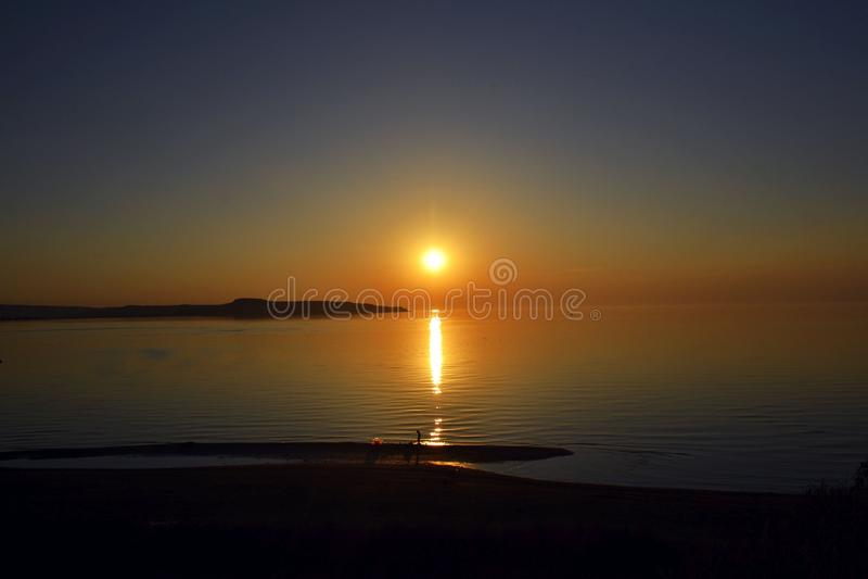 Zmierzch na morzu Azov zdjęcia royalty free