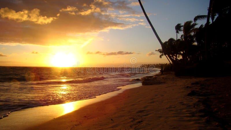 Zmierzch na Punta Cana plaży fotografia stock
