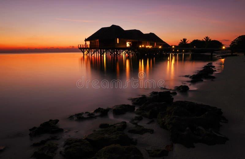 Zmierzch na Rangali wyspie fotografia stock