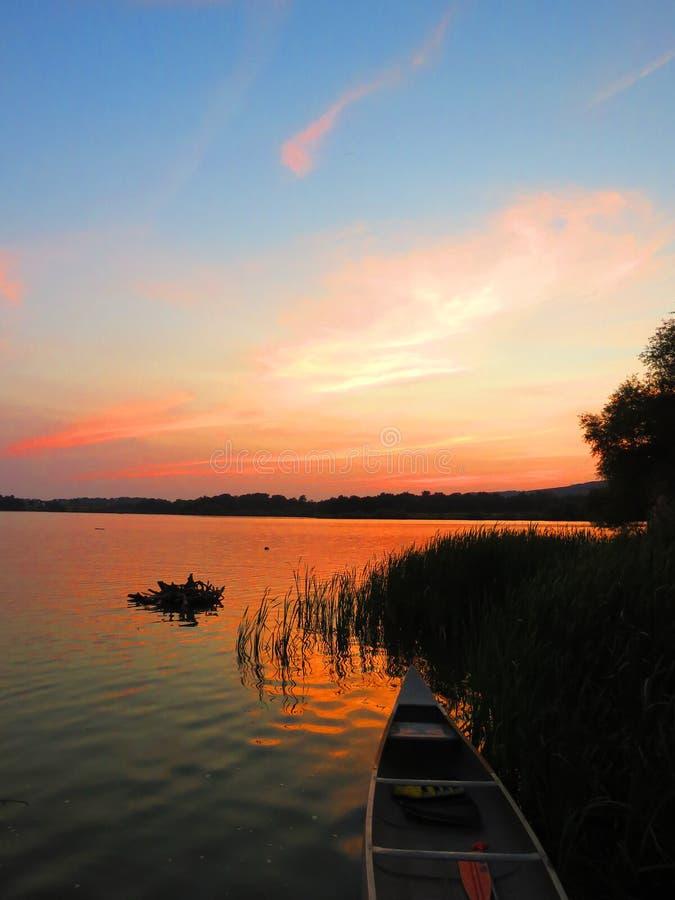 Zmierzch na Struble jeziorze obraz stock
