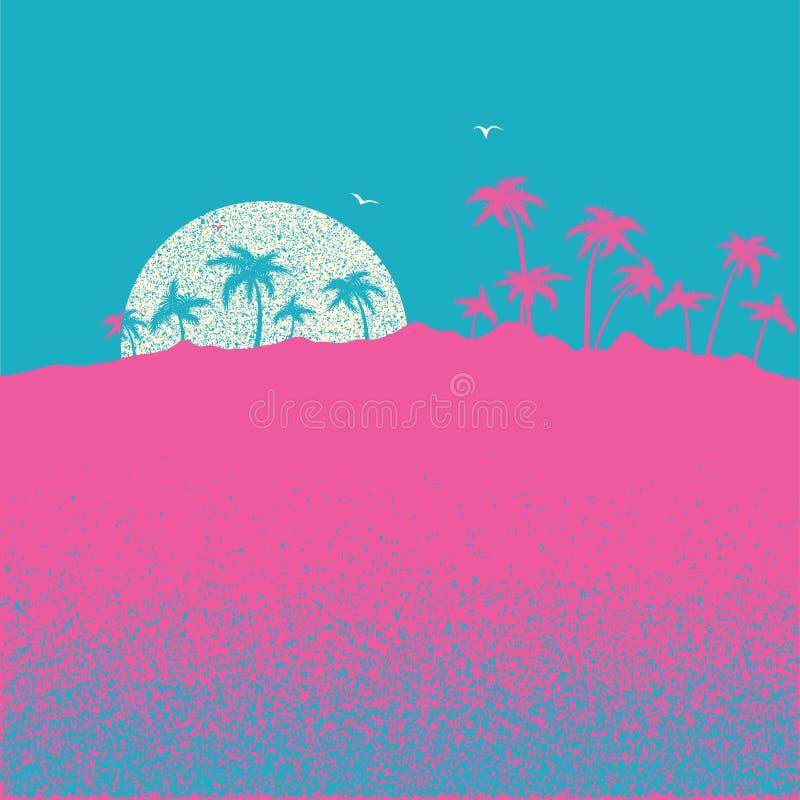 Zmierzch na tropikalnej palmowej wyspie Wektorowy natura krajobrazu illustrat royalty ilustracja