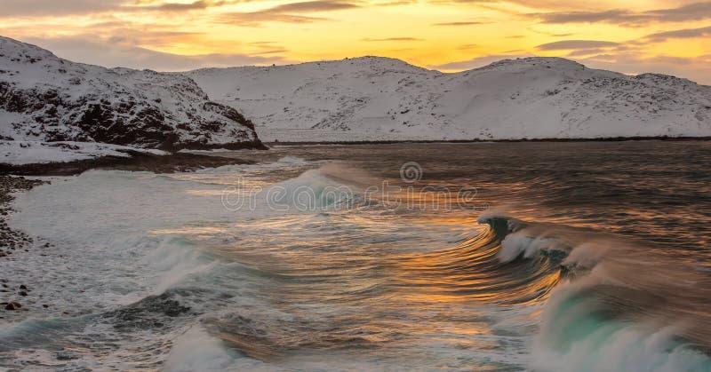 Zmierzch na wybrzeżu Barents morze fotografia stock
