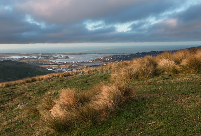 Zmierzch na wzgórzach, Nowa Zelandia zdjęcia stock