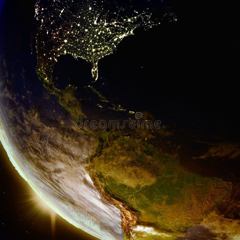 Zmierzch nad Ameryka Środkowa od przestrzeni ilustracja wektor