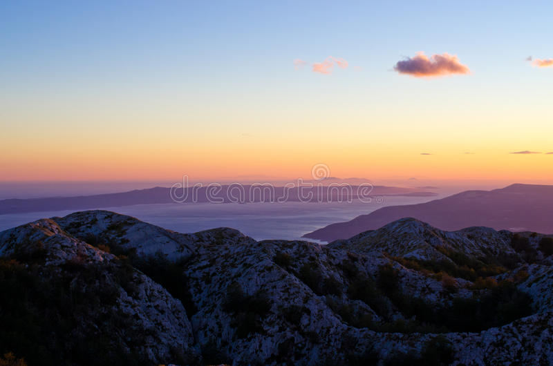 Zmierzch nad Biokovo parka górami, Chorwacja obraz royalty free