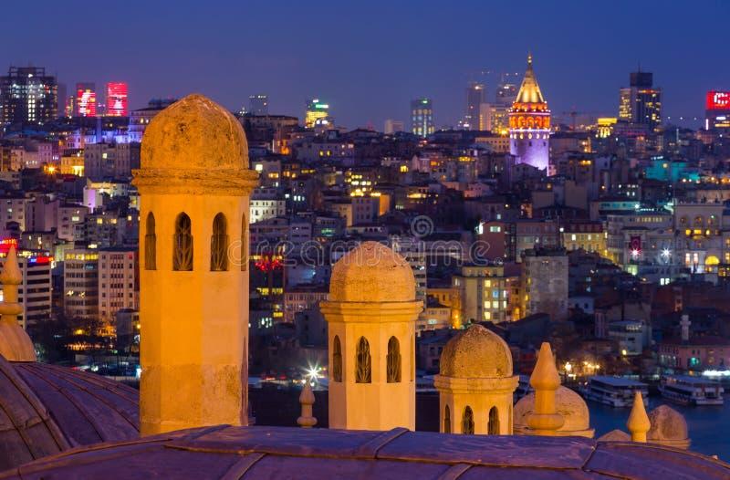 Zmierzch nad Bosphorus, widok od Suleymaniye meczetu, Istanbuł obrazy royalty free