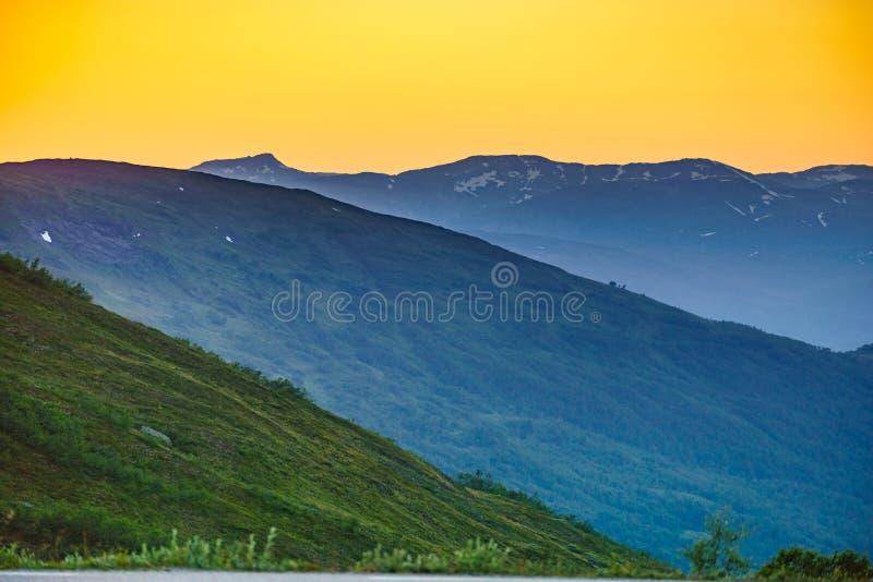 Zmierzch nad górami, Norwegia zdjęcie stock