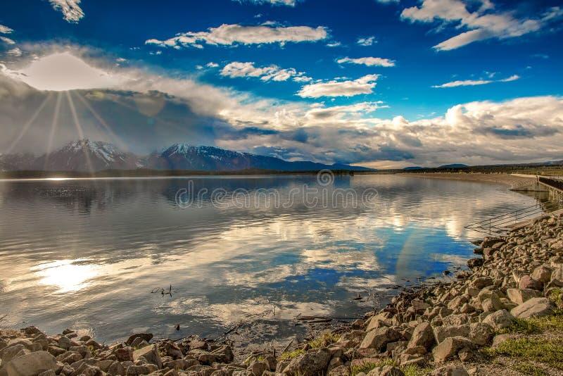 Zmierzch nad Jackson jeziorem Uroczysty Tetons park narodowy, usa obraz royalty free