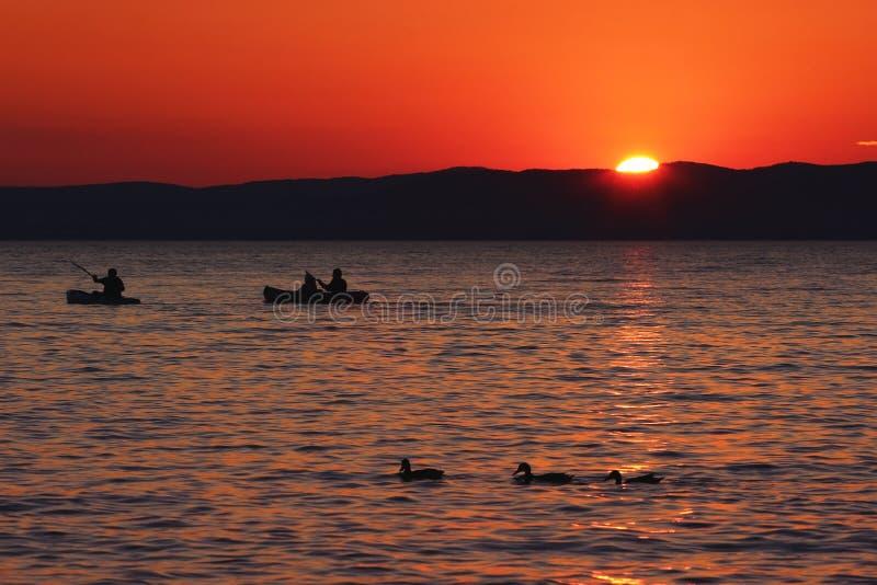 Zmierzch nad jeziorem z łodziami i kaczkami obrazy royalty free