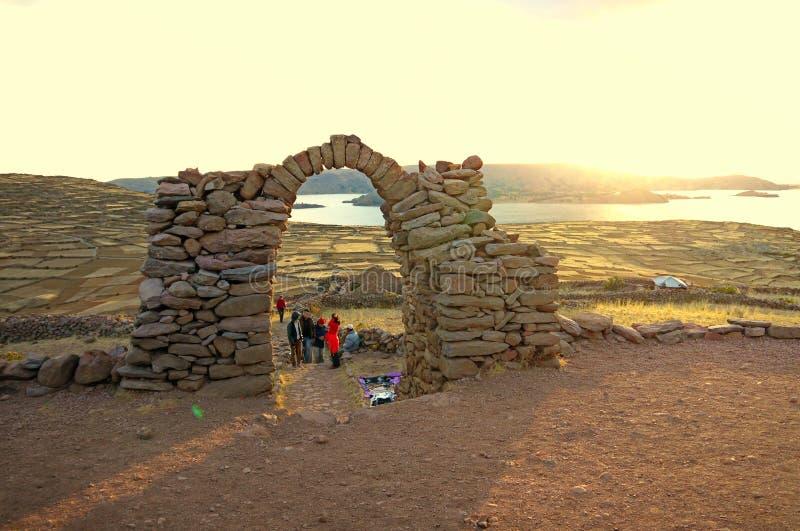 Zmierzch nad Jeziornym Titicaca w Peru zdjęcia stock