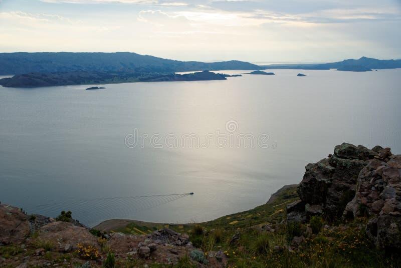 Zmierzch nad jezioro Titicaca obrazy royalty free