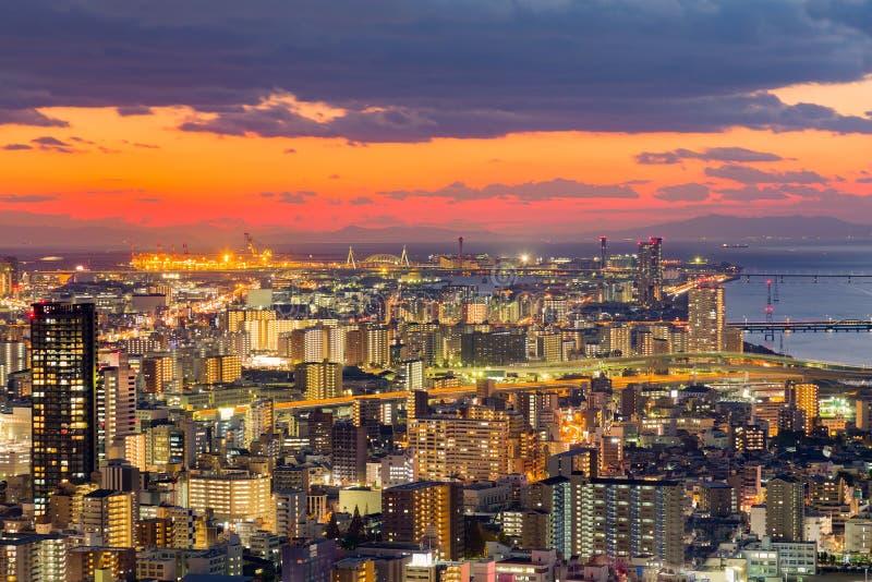 Zmierzch nad Osaka miasta w centrum widok z lotu ptaka od Umeda nieba budowy zdjęcie stock