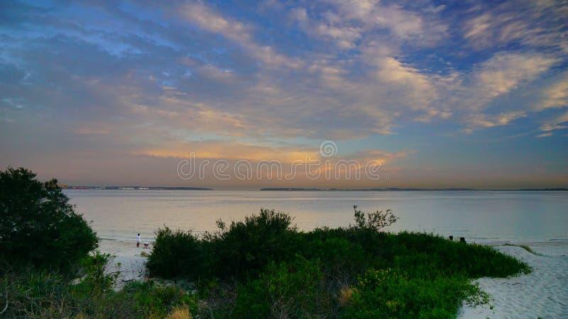 Zmierzch nad piaskami wyrzuca? na brzeg, Sydney, zdjęcia stock