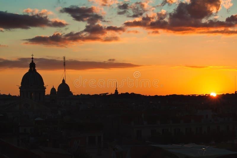 Zmierzch nad Rzym, Włochy zdjęcia stock