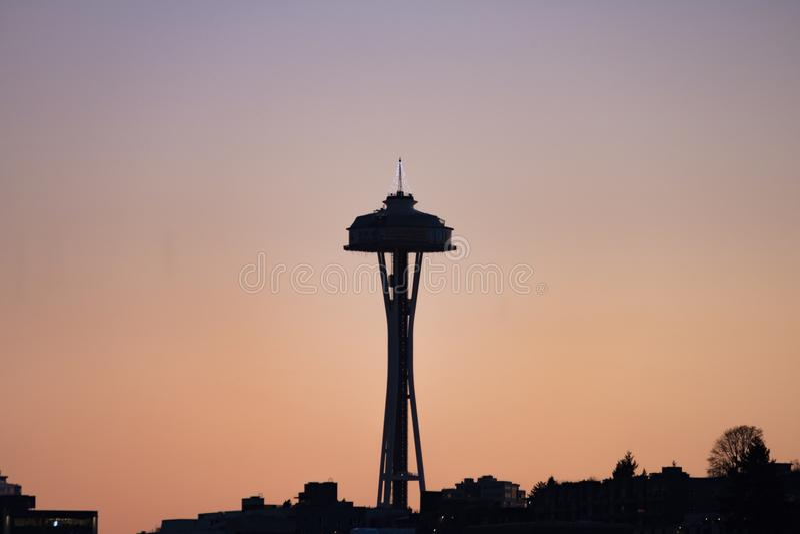 Zmierzch nad Seattle ` s miasta linią horyzontu fotografia royalty free