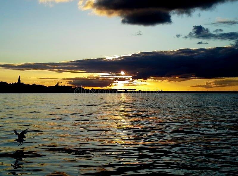 Zmierzch Nad szkotu ` s zatoką, Napastuje Laoghaire zdjęcie royalty free
