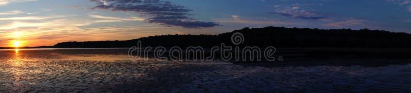 Zmierzch panoramy Piscataway zatoczka zdjęcie stock