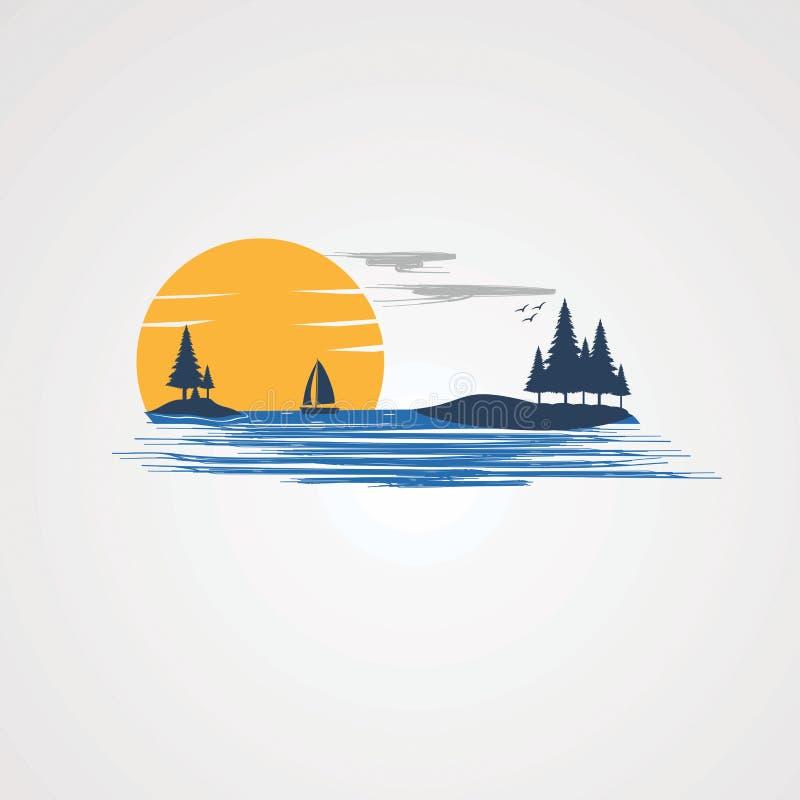 Zmierzch plaża z naturalnym jeziornym logo wektorem, ikoną, elementem i szablonem dla firmy, royalty ilustracja