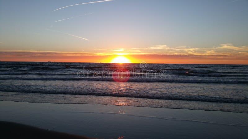 Zmierzch plażowe holandie obrazy stock