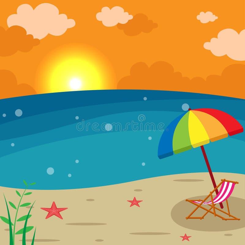 Zmierzch plaży krajobraz - holu krzesło z Parasolową ilustracją, sezonu wakacyjnego lata tło royalty ilustracja