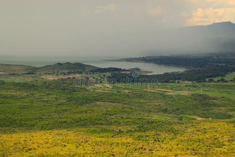 Zmierzch przeciw zbliża się burzy przy Jeziornym Elementaita, Naivasha, Kenja zdjęcie royalty free