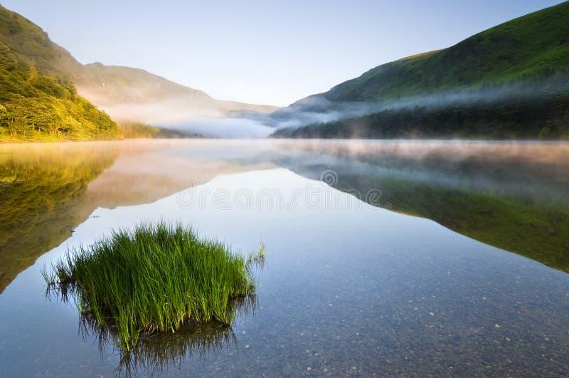 Zmierzch przy halnym jeziorem obraz royalty free