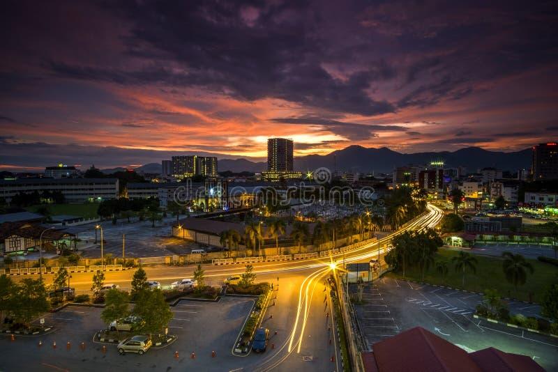 Zmierzch przy Ipoh, Perak Malaysia zdjęcia stock
