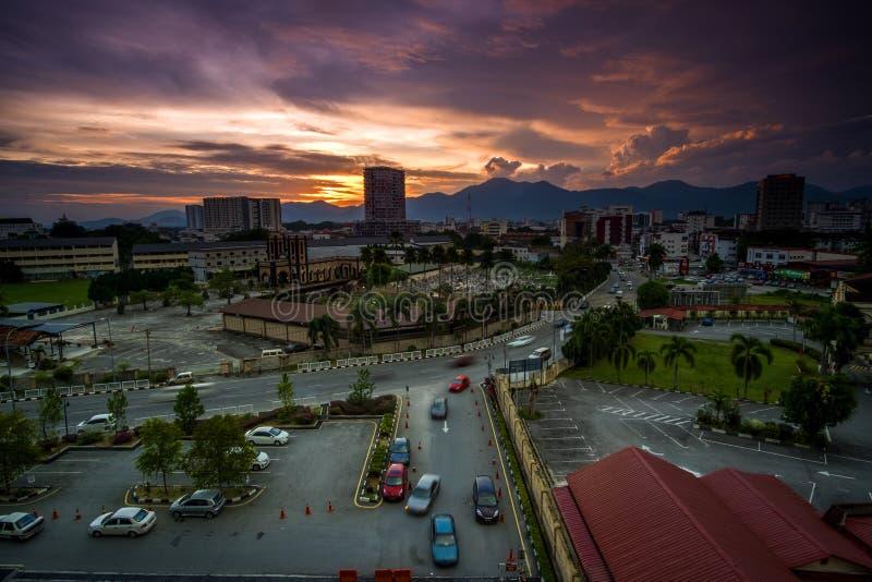 Zmierzch przy Ipoh, Perak Malaysia zdjęcie royalty free