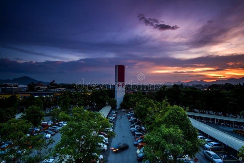 Zmierzch przy Ipoh, Perak Malezja fotografia stock