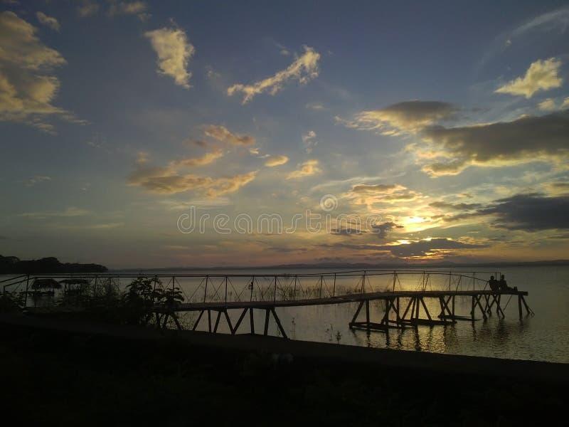 Zmierzch przy Isla Ometepe & x28; Ometep Island& x29; , Nikaragua zdjęcie royalty free
