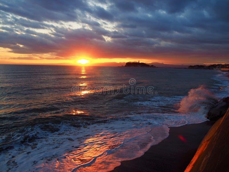 Zmierzch przy Kamakura, Enoshima wyspa obraz royalty free