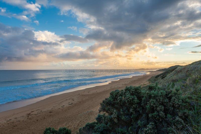 Zmierzch przy Logans plażą, Warnambool obraz royalty free