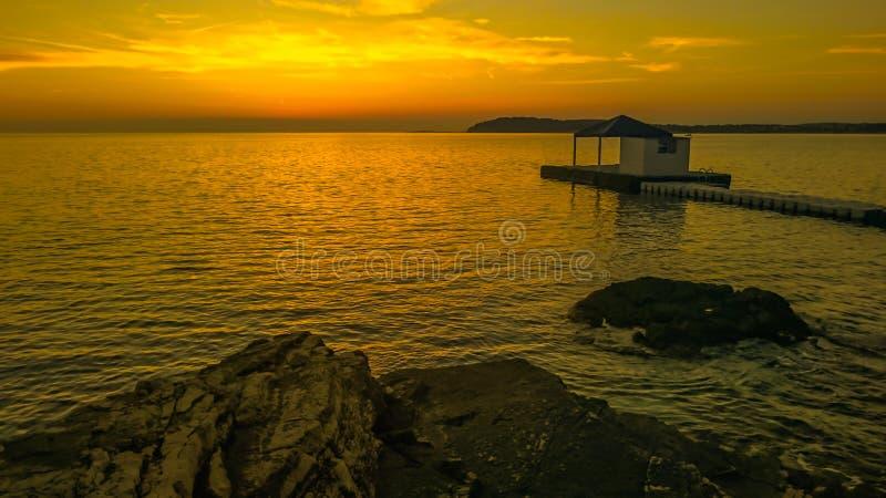 Zmierzch przy Pula zatoką 3 zdjęcia royalty free