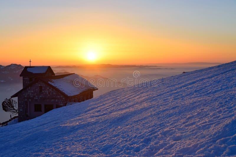Zmierzch przy Rigi górą, Szwajcaria fotografia stock