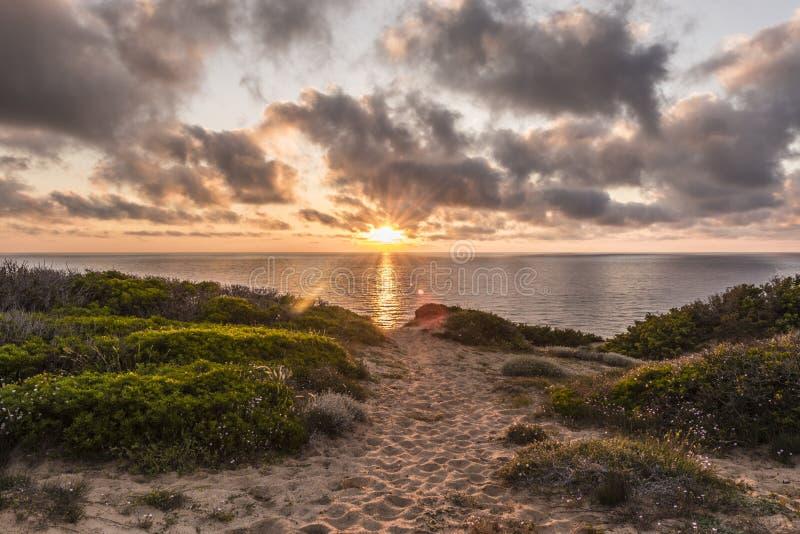 Zmierzch przy sceniczną Scivu plażą - piasek diuny z mirtową roślinnością z oceanem w tle przemaczać chmurach i, Sardini zdjęcia stock