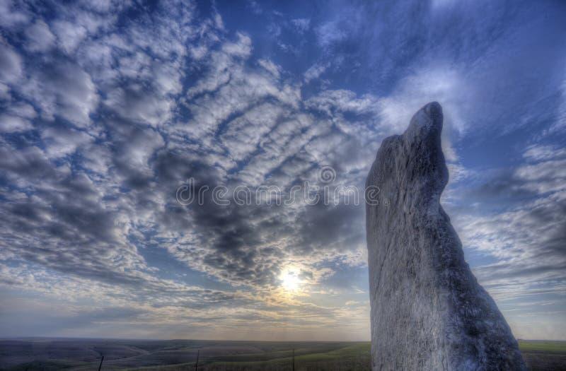 Zmierzch przy Teter skałą, krzemieni wzgórza, Kansas obrazy stock