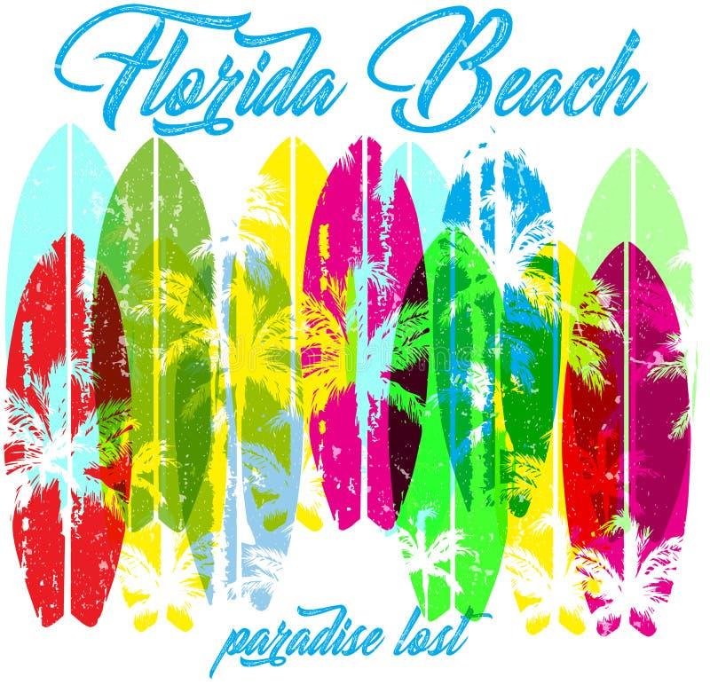 Zmierzch przy tropikalnym plażowym Florida royalty ilustracja