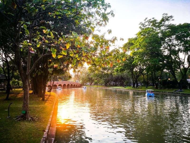 Zmierzch rzeka przy Chatuchak jawnym parkiem, Bangkok, Tajlandia fotografia royalty free