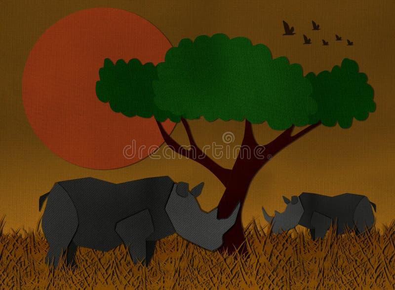 Zmierzch scena przy Afryka safari robić od przetwarzającego papieru royalty ilustracja