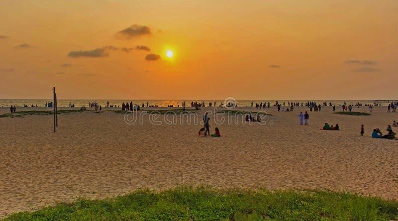 Zmierzch shoted od Alappuzha plaży obrazy royalty free