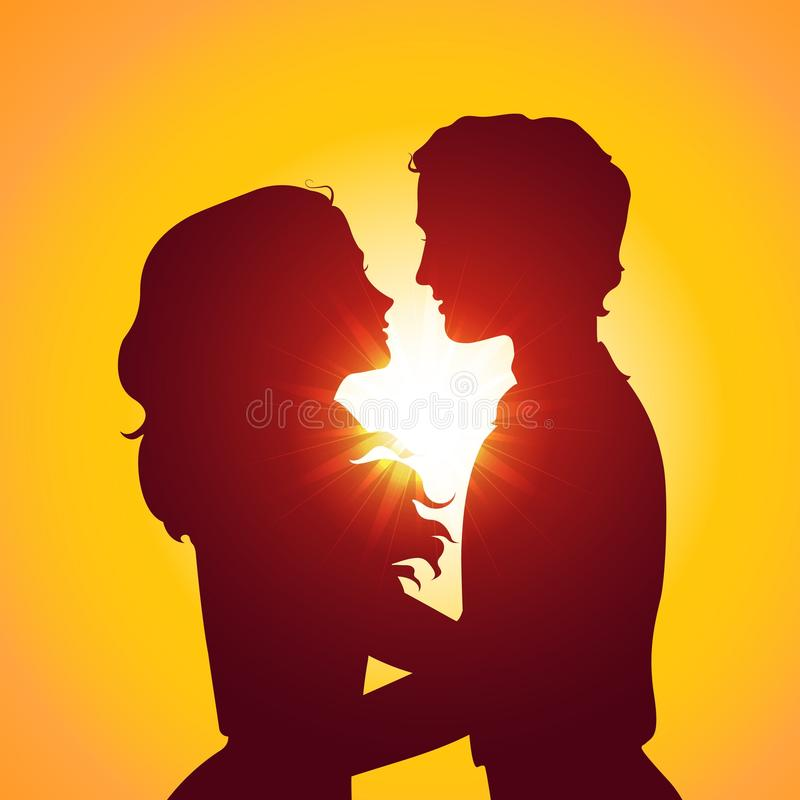 Zmierzch sylwetki całowanie para ilustracja wektor