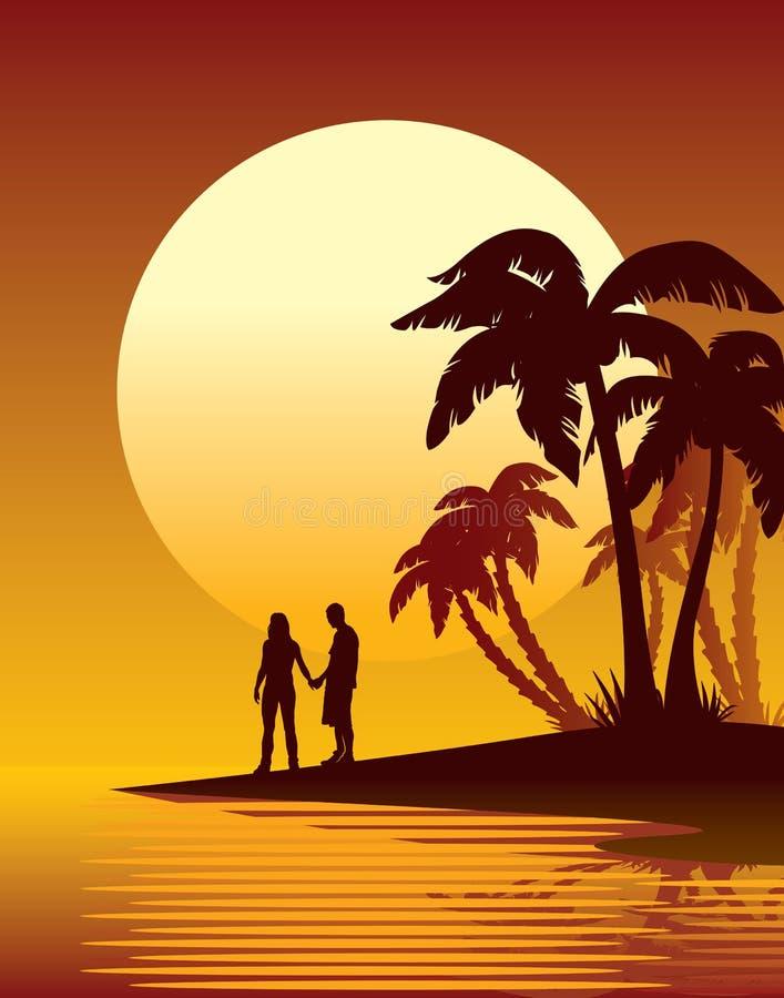 zmierzch tropikalny royalty ilustracja