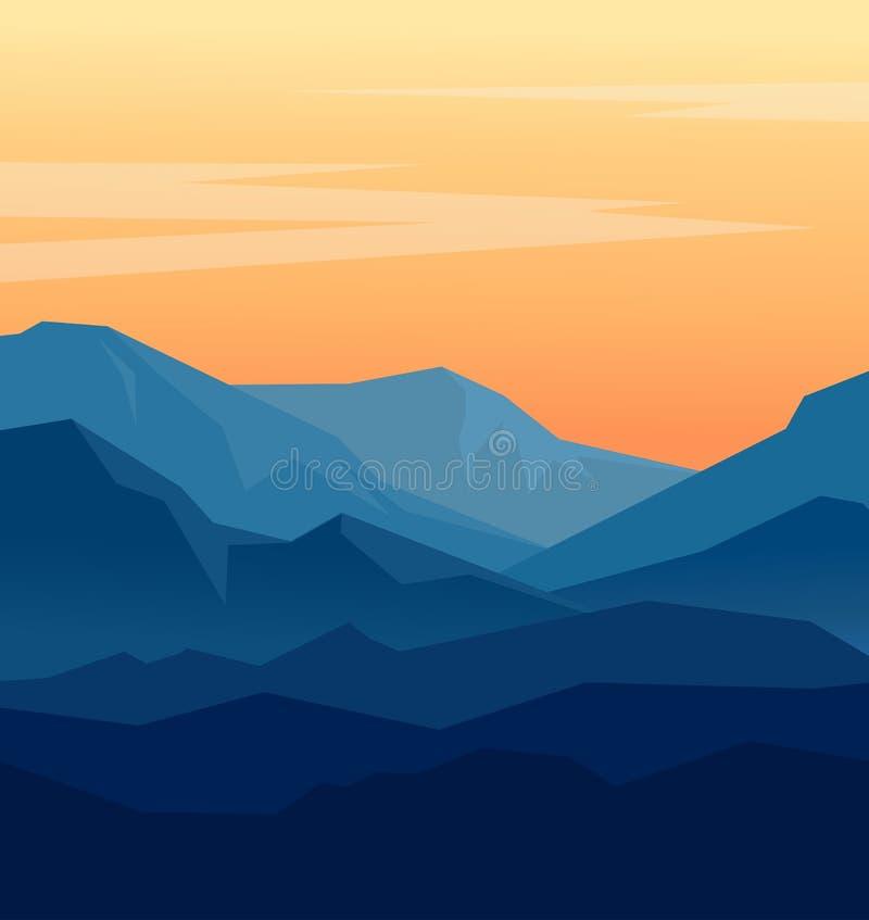 Zmierzch w błękitnych górach ilustracja wektor
